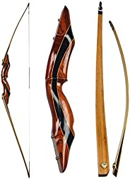 """NMCPY Archery Traditional Longbow 62"""" Takedown Recurve Bow 25-55lbs for Adult Competition Target Hunting"""