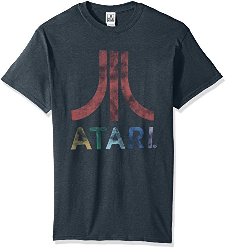 Atari Men's Classic Colorful Logo T-Shirt, Dark Heather, Large