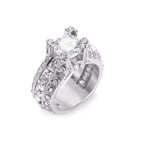 Desirepath 925 Sterling Silver Ring, Cubic Zirconia CZ Diamond Elegant Eternity Engagement Wedding Band Ring (1 Carat Emerald Cut Diamond Ring On Hand)