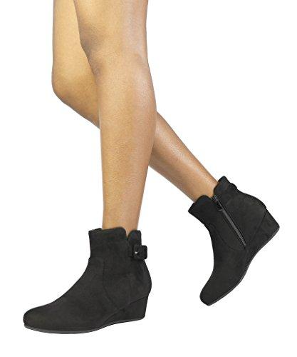 DREAM PAIRS Women's Lang Black Low Wedge Heel Ankle Booties Size 8.5...
