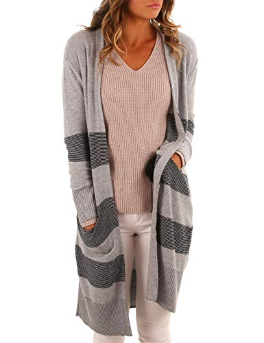 Blooming Jelly Women's Oversized Sweater Long Open Front Striped Rib Knit Cardigan(M,Grey)