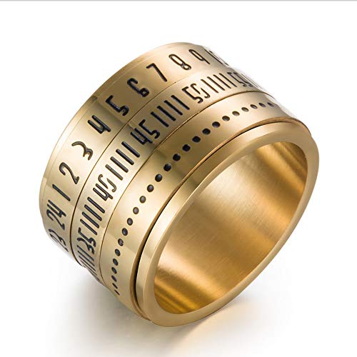 (Titanium Steel Spinner Rings,Rotatable Digital Rings - Retro Style Jewelry Fashion Numer Finger Ring for Men(Size 7-13) (Gold, 8))