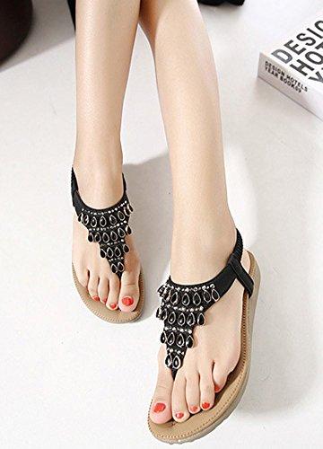 Black US Sandal Flat Pearl Chickle Women's 6 5xn76fBw