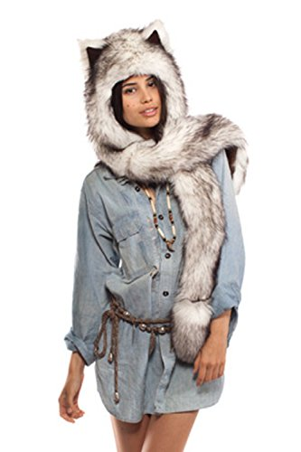 Fhillinuo Wolf Anime Faux fur Animal Hood Hoods Hat 3-in-1 Mittens Scarf Spirit Paws Ears -