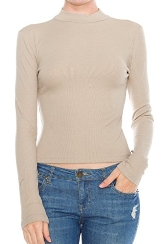 KLKD Women's Ribbed Mock Neck Long Sleeve Knit Crop Top Coffee Large