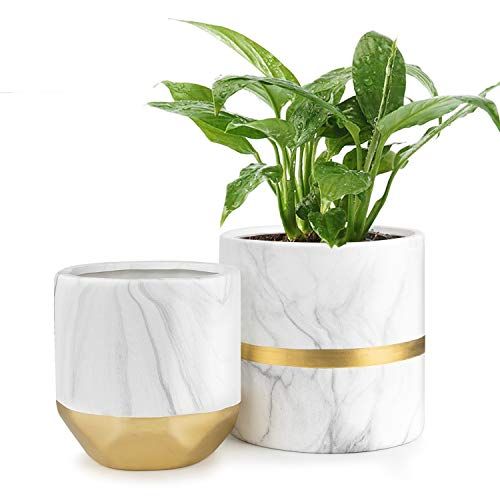 HOMENOTE White Ceramic Flower Pot Garden Planters 6