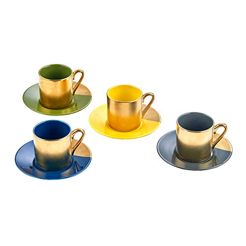 Classic Coffee & Tea Solid Espresso Cups & Saucers (Set of 4) by Yedi Houseware | 2 ½ oz Porcelain In Stylish, Pastel Colors with Gold Plated Rims & Handles for an Authentic, Italian Café Feel