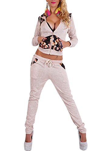 VamJump Women Zipper Long Sleeve Hoodies Jogging Sweat Suit Set L Beige