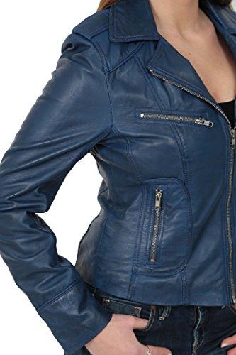 Veste en Cuir Pour Femme Biker à la Mode de Dernière Qualité KIM Bleu Marin