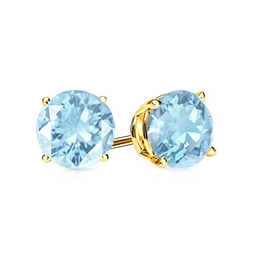 9mm Aquamarine Stud Earrings in 14k Yellow Gold (4.5 CT.TW.)