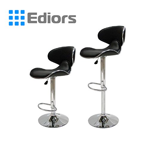Ediors Set of 2 Swivel Elegant PU Leather Adjustable Hydraulic Modern Bar Stool Barstool Chair Black