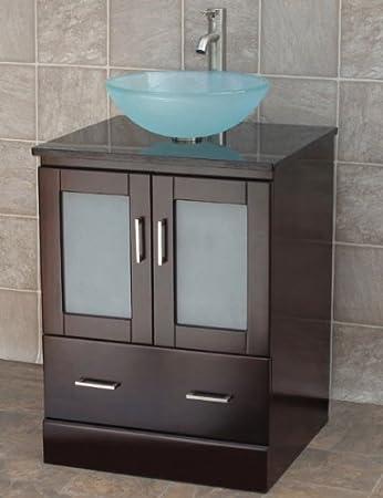 24 Bathroom Vanity Solid Wood Cabinet Black Granite Top Vessel Sink  MO2