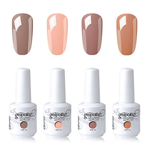 Elite99 Gel Nail Polish Soak Off UV LED Nail Art Lacquer Manicure Kit Nude Color Series Set + Gel Nail Remover Wraps 20pcs (Brown Nail Polish Matte)
