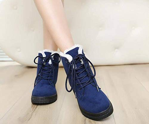 DADAWEN Top Suede Blue Snow Winter up Women's Waterproof Lace Boots High HrwH1qg