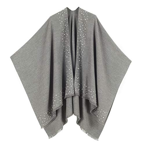 Cardigan Poncho Cape: Women Elegant Gray Solid Color Pearl Cardigan Shawl Wrap Sweater Coat for Winter (Gray with Pearl)