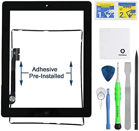 For iPad 3//4 A1416 A1430 A1403 Touch Screen Digitizer Glass+Button+Frame White