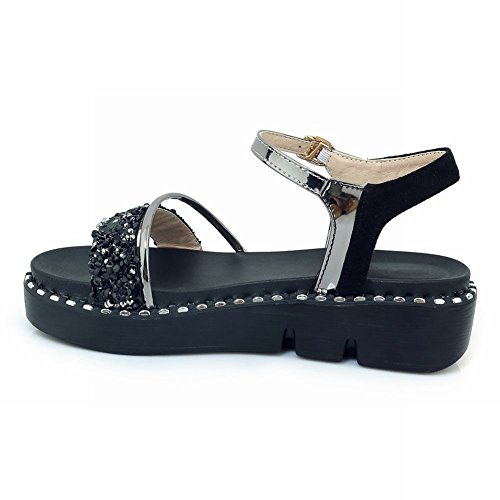 Carolbar New Women's Black Platform Sequins Buckle Sandals Casual Style rqrw5fxP6