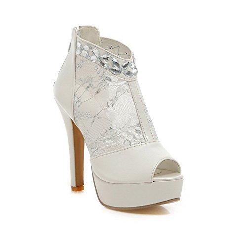 Sandalo In Pelle Di Vitello Con Cerniera Diamantata Balamasa Da Donna Bianco