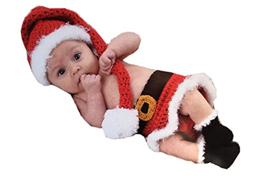 Pinbo Baby Girls Photography Prop Crochet Knitted Christmas Hat Dress Shoes (Christmas Costumes Baby)
