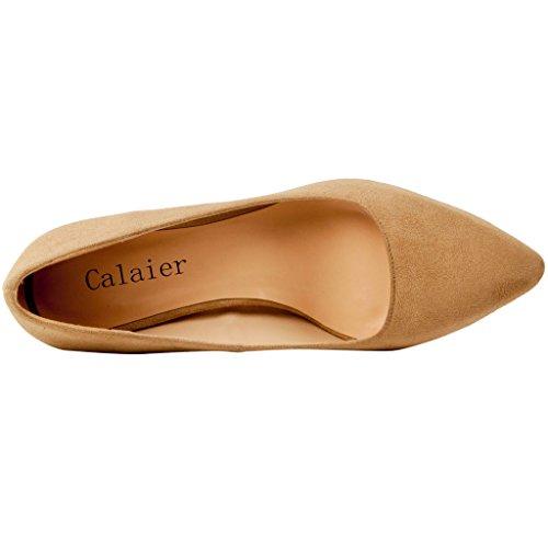 Brown 5CM Slip Court Women Stiletto Shoes Cahalfway Calaier 5 Pointed On Toe FwXqUPxpP