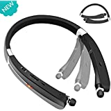 OTCPP Bluetooth Headset, Wireless Neckband Headset, Foldable Retractable Bluetooth Headphones (KKY-992), for Sports & Exercise Noise Cancelling Headsets (Black)
