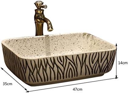 マットストライプアートの上カウンター盆地長方形セラミック洗面台ホーム盆地カウンター盆地ウォッシュ(47x35x14cm) P3/18