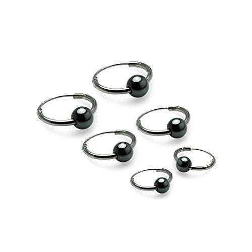 Silverline Jewelry- Set of Sterling Silver Endless Small Hoop Earrings, Simulated Hematite Ball,10mm, - Ball Earrings Hematite