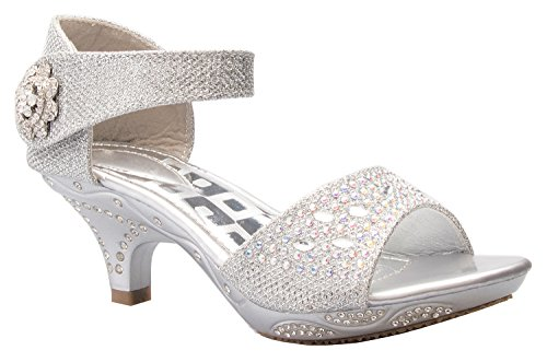 OLIVIA K Girls Sparkly Rhinestone Kitten Heel Platform Dress Sandals (Toddler/Little Girl) -