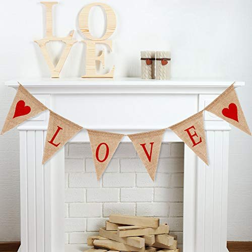 Tatuo Love Letters and Hearts Garlands Banner Valentine's Day Burlap Banner Vintage Wedding Garland for Valentine's Day Anniversary Wedding Birthday Party Decorations]()
