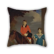Oil Painting Robert Burnard - John Gubbins Newton And His Sister, Mary Newton Throw Pillow Covers Best For Study Room Bar Floor Boys Kids Girls Car Seat 20 X 20 Inches / 50 By 50 Cm(twice Sides)