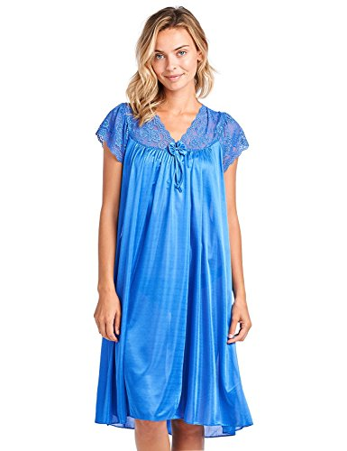 Casual Nights Women's Fancy Lace Neckline Silky Tricot Nightgown - Navy - X-Large ()