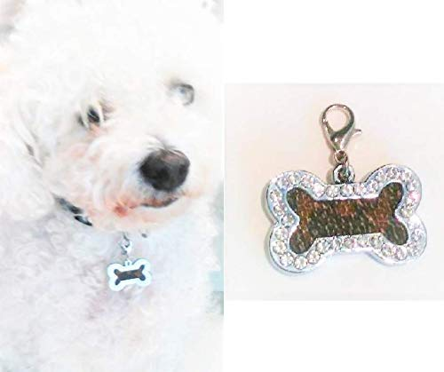 Bejeweled Collars - Fancy Dog Bone Charm. Cat Charm. Crystal Pet Collar Charm fashioned w Louis Vuitton monogram canvas upcycle repurpose. For Dogs Cats Pets Necklaces Charm. Great Gift!