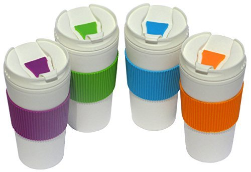 Set of 4 Double Wall Insulated Travel Mugs with Colorful Wraps and Lids, 16 Oz. - Orange, Purple, Green, Blue (Plastic Lid Travel)