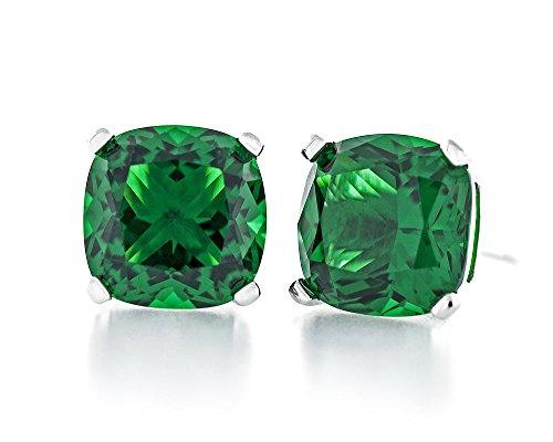Acacia Jewelry 4.00 Carat (ctw) Cushion Shape Diamond Cut 7x7mm Emerald Green Color Nano Gems 925 Sterling Silver Heavy Mounting Stud Earrings Rhodium Plated