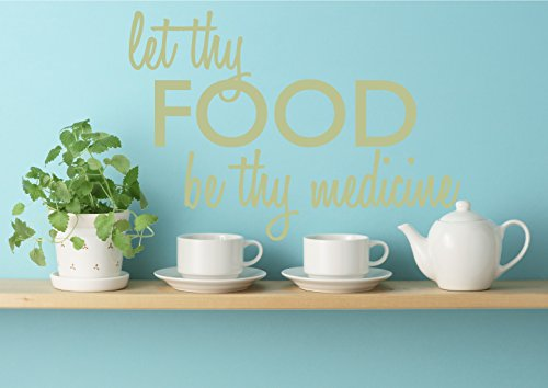 Let Thy Food Be Thy Medicine Quote Wall Art Decal Sticker Removable Vinyl Home Decor Saying (Celadon, 25x36 inches)