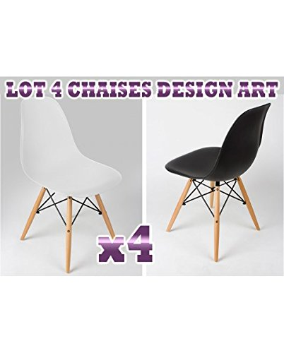 LOT DE 4 CHAISES DESIGN ART (BLANC) 4KRAFT