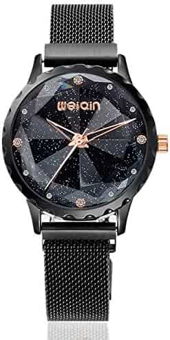 Fashion Magnetic Watches for Women, Quartz Starry Sky Watch, Mesh Band Analog Black Watch Valentine's Day Gifts for Women