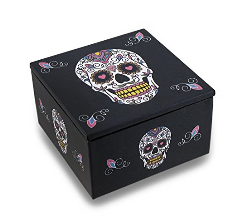 Zeckos Day of The Dead White Sugar Skull Dia De Los Muertos Mirrored Trinket Box