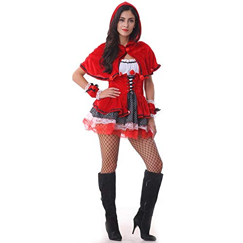 MUMUWU Ladies Sexy Little Red Riding Hood Costumes Halloween Show Game Uniforms Cosplay Costumes Cosplay (Color : Red, Size : One Size) -
