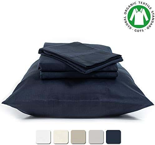BIOWEAVES 100% Organic Cotton 4 Piece Bed Sheet Set, 300 Thread Count Soft Sateen Weave GOTS Certified with deep Pockets (King, Navy Blue)