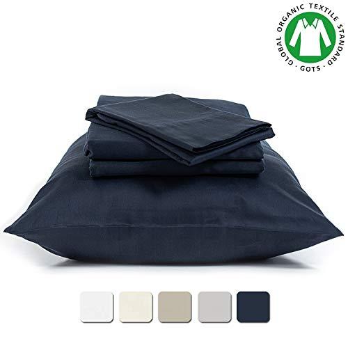 BIOWEAVES 100% Organic Cotton 3 Piece Bed Sheet Set, 300 Thread Count Soft Sateen Weave GOTS Certified with deep Pockets (Twin, Navy Blue)
