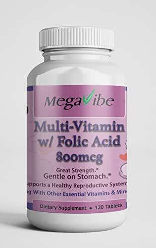 Folic Acid with Iron - 120 Tablets | Prenatal & Postnatal Vitamins for Vegetarian Women | No Gelatin | NonGMO, Gluten-Free, FDA-Certified Facility,Made in USA, with Other Essential Vitamins & Minerals