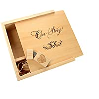 Maple 2.0 USB Flash Drive - 4 x 6 Photo Box. Holds 125 Photos - Inserted into a Matching Maple Photo Box with Raffia grass inside - Engraved Our Story Design (8GB)