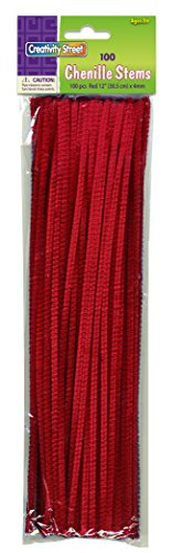 Creativity Street Chenille Stems/Pipe Cleaners 12 Inch x 4mm 100-Piece, Red -