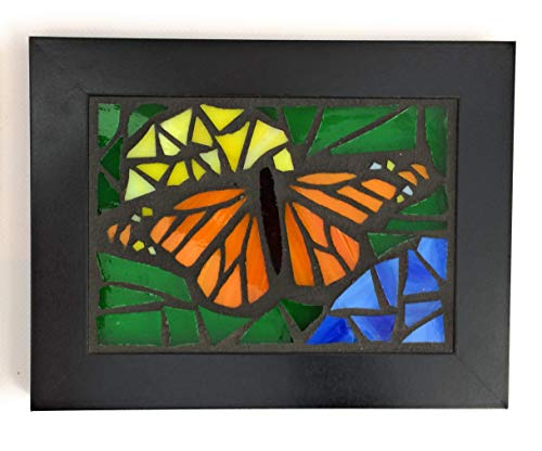 - Monarch Butterfly with Yellow and Blue Flowers Stained Glass Mosaic Art Panel in Frame 5 x 7 inches
