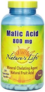 Nature's Life Malic Acid , 800 Mg, Mineral Chelating Agent, 250 Veg Capsules (Pack of 3)