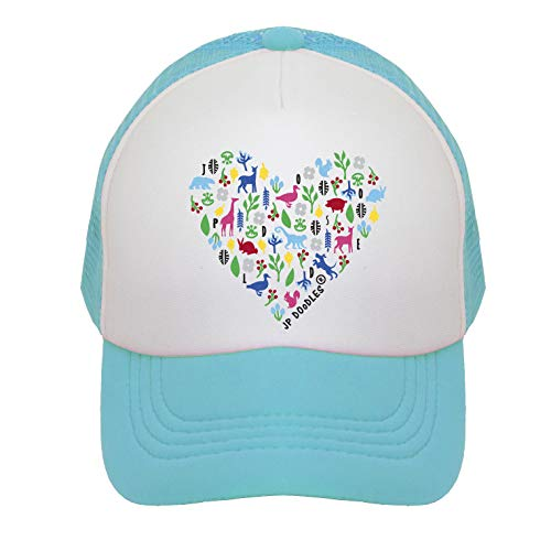 JP DOoDLES Heart on Kids Trucker Hat. Kids Baseball Cap is Available in Baby, Toddler, and Adult Sizes. (Teal, Youth 5-7 YRS)