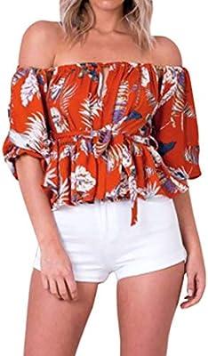 Feibeauty - Blusa para Mujer, Elegante, diseño Floral, Manga Corta ...