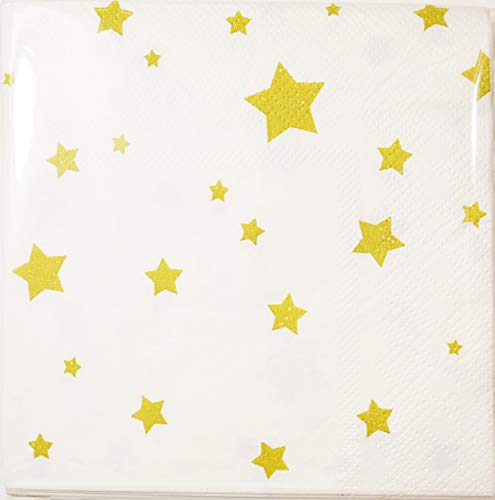 50 Pack Premium Decorative Cocktail Napkins - Gold Foil Star Disposable Paper Party Napkins, Perfect for Birthday Party Supplies and Bridal Shower Decorations, 5 x 5 Inches Folded, White