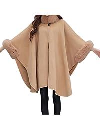 Womens Vintage Cape Poncho Coat Faux Fur Cloak Coat Cardigan Trim Shawl Wrap Buckle Collar